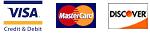 Visa, Mastercard, Discover logos