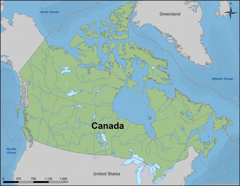 Map of Canada and its oceans.